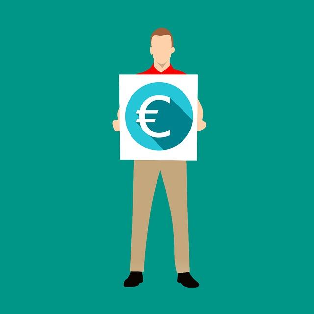 muž se symbolem eura, ilustrace